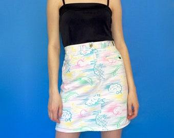 Vintage 80s White Denim Fruit Print High Waisted Pencil Skirt