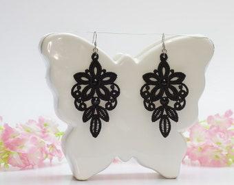 Chandelier earrings, Black earrings, Embroidery lace, Handmade earrings, Vintage earrings, Floral earings, Lace gift for her, Black lace