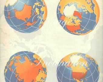 Vintage 4 WORLD GLOBES World Map 1940s