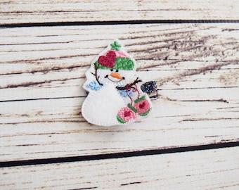 Handcrafted Cute Snowman Feltie Clip - Winter Wonderland Birthday Favor - Snowman Baby Girl Accessory - Small Hair Clip - Stocking Stuffers