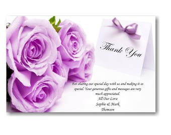 50 Personalised Wedding Day , Wedding Evening Thank You Thankyou Cards Ref W5 With self seal envelopes