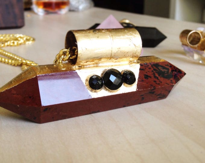 Red Obsidian Wand with Black Obsidian Necklace