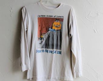 Farside Graphic Tshirt California Acadamy of Science  Long Sleeve Loungewear Vintage 90s Promo White T Shirt Vintage