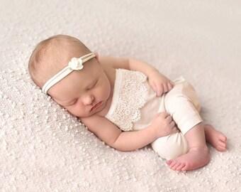 NEWBORN ROMPER, Romper Set, Newborn Pants, Flower Headband, Newborn Photo Romper, Newborn Romper Set,  Photography Prop, Newborn Prop