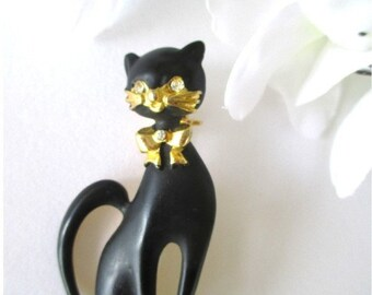 Black Cat Pin * Enamel And Rhinestones * Black And Gold Brooch * Gift For Cat fan
