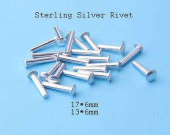 solid rivets 20pcs Sterling Silver Solid Rivets  Flat Head Rivets - 17*6/ 13*6 mm cd8