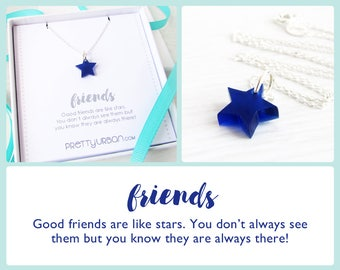 BFF Necklace – Long Distance Friendship Gift – Blue Star Necklace – Gifts for Friends – Friendship Necklaces – Best Friend Gifts – Gift Box
