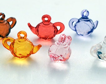 Tea Kettle Clear Colored Miniature Resin Plastic Kawaii Decoden Charms Kitsch TK42617