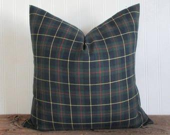 Pillow Cover Tartan Plaid Zipper Christmas 18 x 18