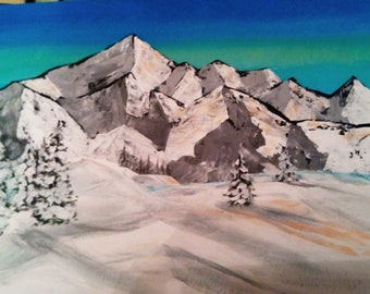 Mountains - Original acrylic painting - FREE SHIPPING