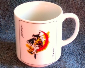 Vintage Joker Mug Joker Coffee Cup Playing Card Mug Gambler Mug Gambler Gift Made in Japan Deserdog Destash  H2
