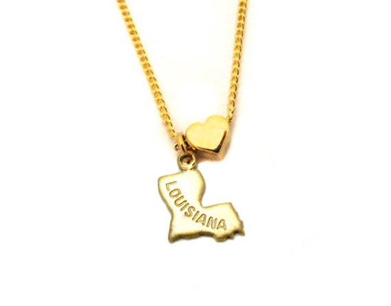 Louisiana Love - State Charm Necklace - 18 Inches