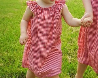 Baby, toddler, and girls gingham peasant dress with flutter angel sleeve collar sz 12m, 18m, 24m/ 2, 3,4,5,6,7,8