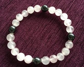 Rose Quartz and Hematite Charm  Bracelet