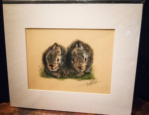 "Fine Art Giclee Print by Terry Kirkland Cook ""Two Bunnies"""