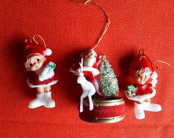Vintage Christmas Decorations Elves Santa