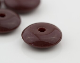 Vintage Glass Spacer Disk Beads Opaque Brown 13x4mm 10pcs; Saucer Rondelle Beads  10202002