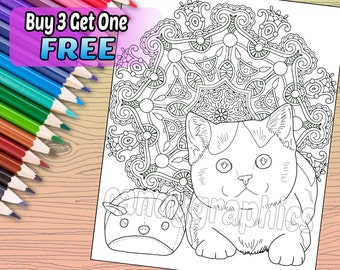 Cat Mandala - Adult Coloring Book Page - Printable Instant Download