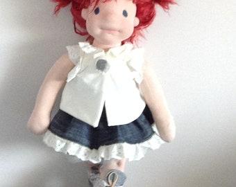 "Rosie 20"" Waldorf inspired doll with wardrobe, natural fiber art doll, cloth doll, OOAK doll, Waldorf doll, Steiner doll"