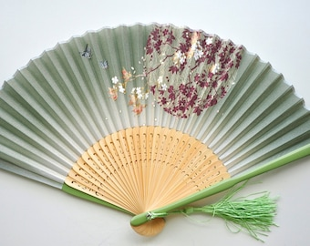Silk Green Sakura and butterfly Hand Fan with sleeve -Handheld Folding Fan, Japanese Hand Fan,folding fan,Cherry blossom