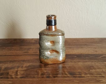 Handmade stoneware whiskey flask