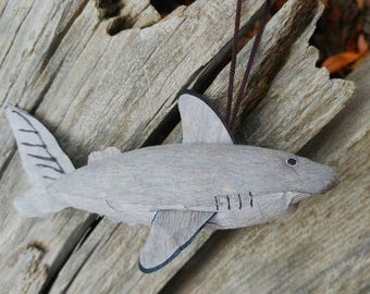 Handmade Paper Mache Shark Christmas Ornament