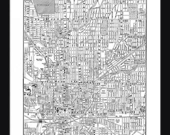 Indianapolis Vintage Map - Indianapolis - White - Print - Poster