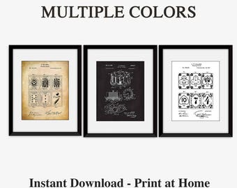Game Room Decor, Patent Prints, Poker Gifts, Poker Print, Playing Cards Prints, Printable Art, Playing Cards Poster, Multiple Colors