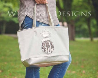 Preppy Monogram Gift-Preppy Monogram Tote Bag-Monogram Tote-Monogram Tote Bag-Pineapple-Preppy Monogram Tote-Tote with Monogram