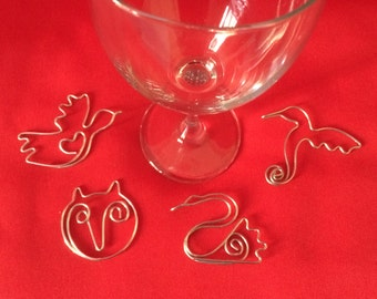 Magical Bird Wine Charm-Set of 4-Hummingbird, Dove, Swan, Owl