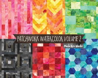 Bright Patchwork Watercolor Digital Paper Image Instant Download, Background Textures, Watercolor Papers