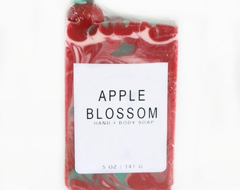Apple Blossom Artisan Hand Body Soap, Cold Process, Handmade,