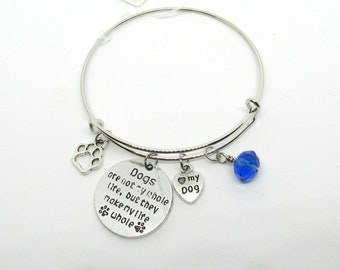 """Dogs are Not My Whole Life but Make My Life Whole"""" Silver Tone Expandable Bracelet 8""""  (J4p)"""