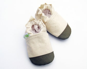 Organic Vegan Heavy Canvas Natural with Brown / non-slip soft sole baby shoes / made to order / Babies Toddler Preschool