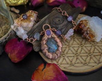 Copper Electroformed Pendant, Crystal Pendant, Labradorite and Amethyst Copper Necklace, Crystal Jewelry, Copper Necklace, Raw Copper