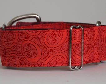 "Greyhound  - Red dots on dark orange 2"" Martingale Collar"