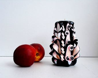 Carved candle - black carved candle - carved candle - decorative candle - carved candle handmade black carved candles Halloween