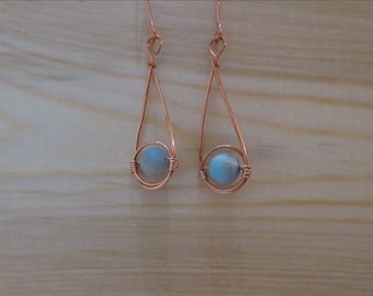 Amazonite and Copper Wrapped Zero Waste Earrings