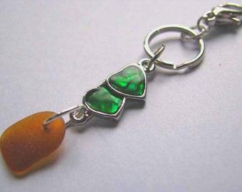 Genuine Sea Glass Keychain - Beach Glass Pendant - Heart Keychain - Sea Glass Gift - Ocean Gift - Keychain with Sea Glass - Unique Sea Glass