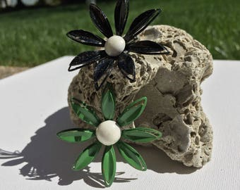 Green and Black Enameled Flower Brooches