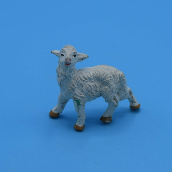 Chalkware Italy Lamb Figurine Vintage White Plaster Sheep Figure Nativity Animal Replacement Easter Decoration Figurine Gift for Her