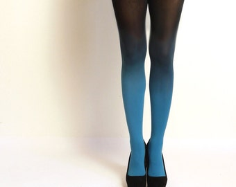 Ombre Tights gradient tights Hand dyed Teal and black
