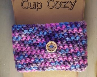 Crocheted cup cozy, reusable coffee sleeve, bubble gum coloured coffee cozy, cup cozy, simple cup cozy