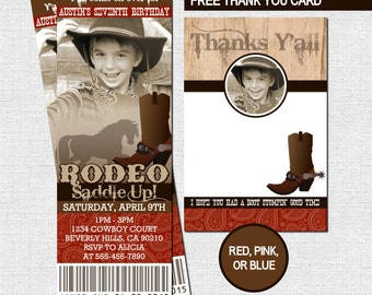 WESTERN TICKET INVITATIONS Rodeo Cowboy or Cowgirl + Free Thank You Card Birthday Party - (print your own) Personalized Printable