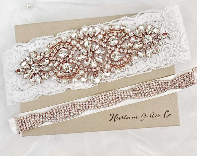 Wedding garter, rose gold Wedding Garter Set NO SLIP grip vintage rhinestones bridal garter WHITE BO1RG-E17RG
