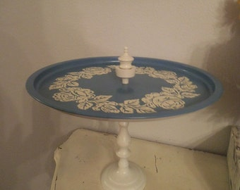 repurposed Dresser Tray ~ Vanity Jewelry TRay holder ~ Blue white Pedestal tray - Roses