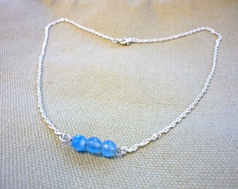 Minimalist chain necklace, stick necklace, quartz necklace, silver necklace, blue quartz, blue necklace