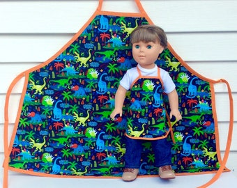 Matching Aprons for 18 Inch Doll and Child, Dinosaur Aprons, 18 Inch Boy Doll Apron, 18 Inch Doll Accessory, Made to Order