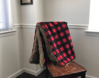 Buffalo Plaid Fleece/ Faux Fur Blanket