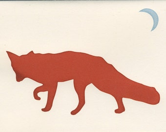 Fox and Moon card